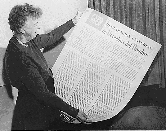 Eleanor Roosevelt and the Universal Declaration of Human Rights Photo: Photo: Unknown - Franklin D Roosevelt Library website